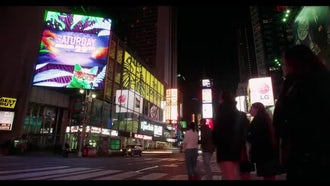 Times Square City Night Lights: Stock Video