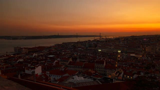 Day To Night Lisbon, Portugal: Stock Video