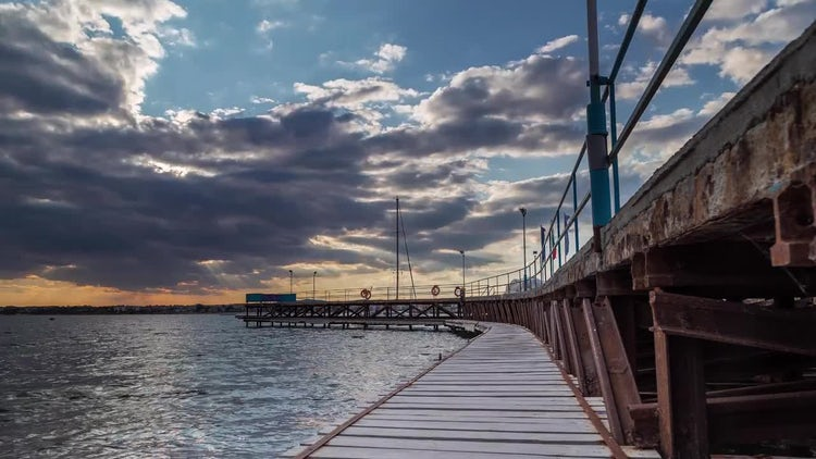 Sunset Over The Fishing Pier: Stock Video