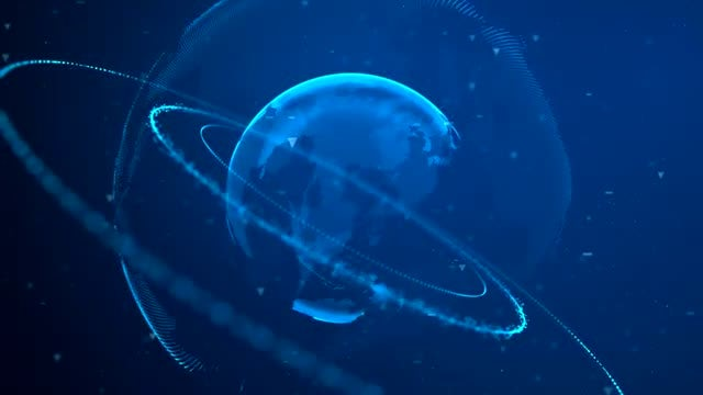 Digital Planet With Rings 02: Stock Motion Graphics