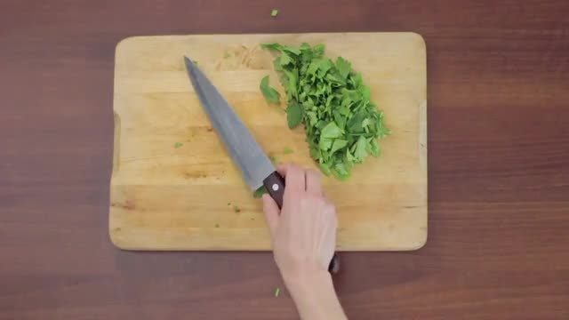 Slicing Parsley: Stock Video