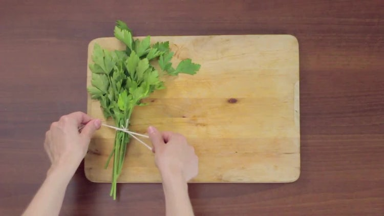 Tying Parsley Sprigs: Stock Video