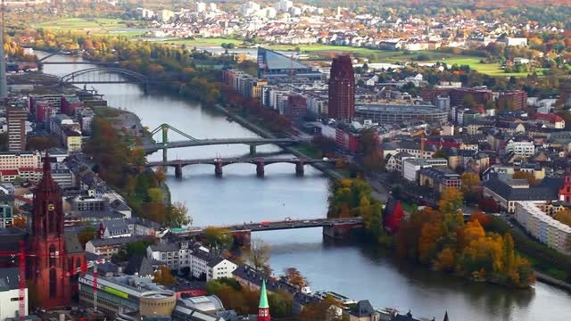 Maine River Frankfurt Germany Pack: Stock Video