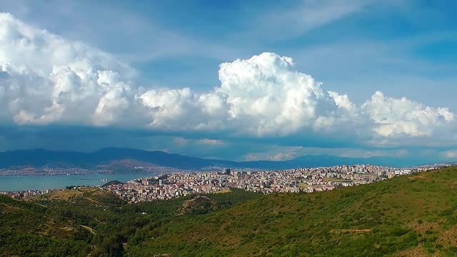 Cityscape And Clouds - Izmir, Turkey: Stock Video