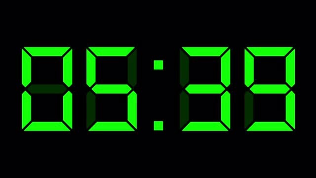 Digital Timer Clock Black Green: Stock Motion Graphics