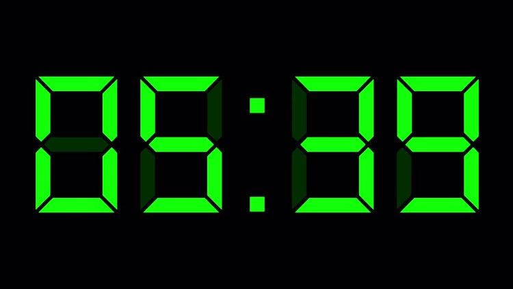 Digital Timer Clock Black Green: Motion Graphics