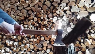 Splitting Firewood: Stock Video