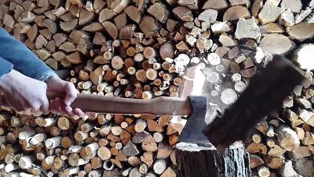 Splitting Firewood: Stock Video