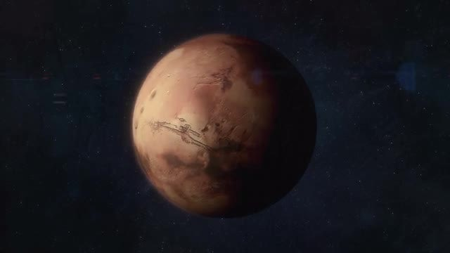 Approaching The Red Planet Mars: Stock Motion Graphics