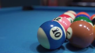 Billiard Balls On Blue Baize: Stock Video