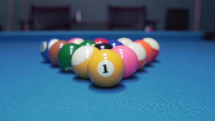 Billiard Balls On Blue Baize: Stock Video