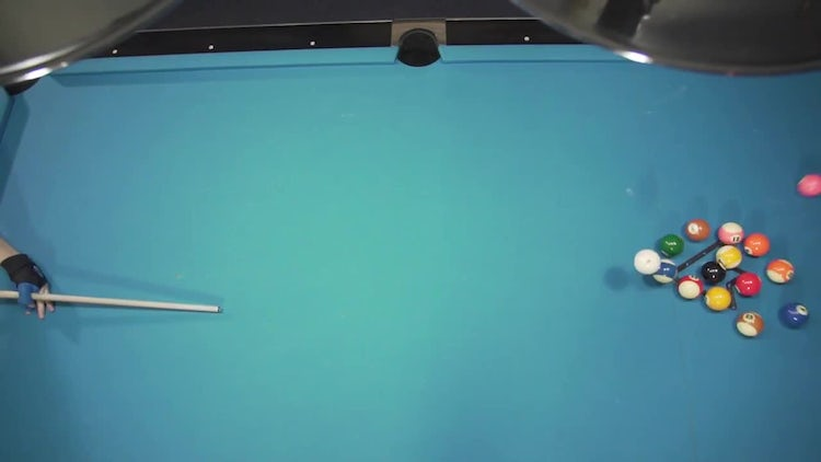 An Opening Break On A Pool Table: Stock Video