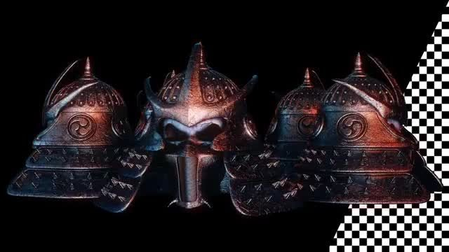 Samurai Helmet VJ Loop: Stock Motion Graphics