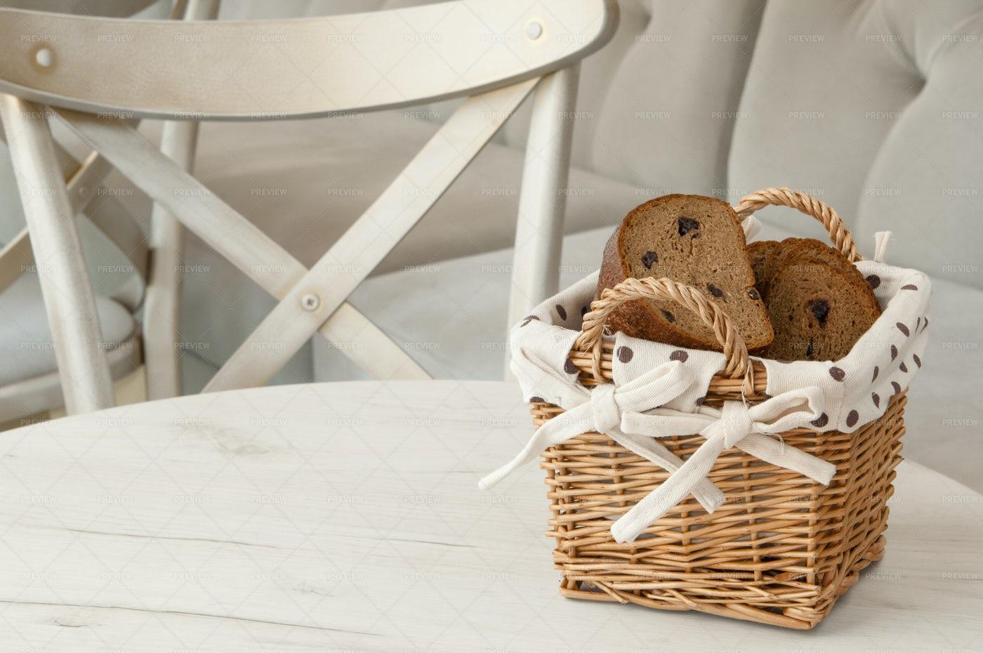 Bread In Wicker Basket: Stock Photos