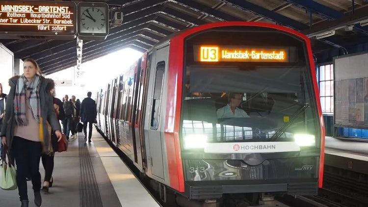 S-Bahn Train At Station In Hamburg, Germany: Stock Video