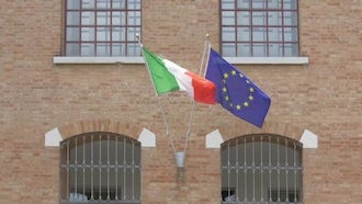 Flags Of Italy And Europe: Stock Video