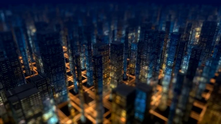 Night City Buildings Background: Stock Motion Graphics
