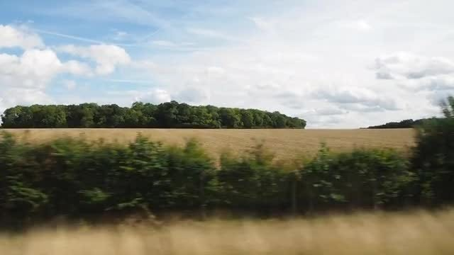 Countryside View From Moving Train: Stock Video