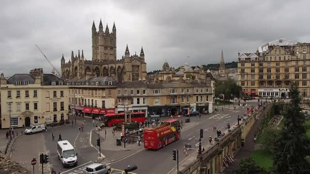 Aerial View Of Bath Cathedral: Stock Video