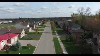 Drone Shot Over Neighborhood Houses: Stock Video