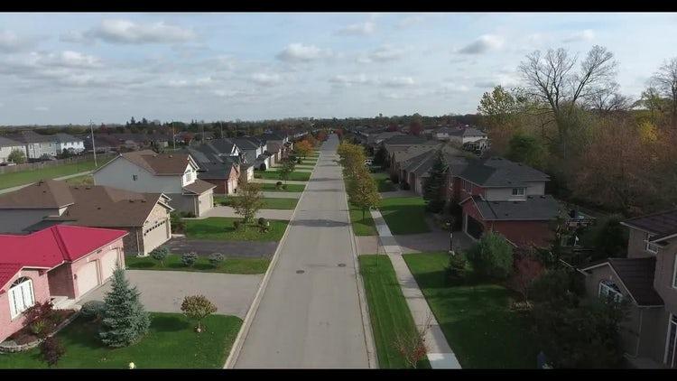 Drone Shot Over Neighborhood Houses: Stock Video