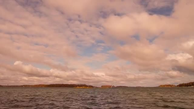 Moving Clouds Over The Sea: Stock Video