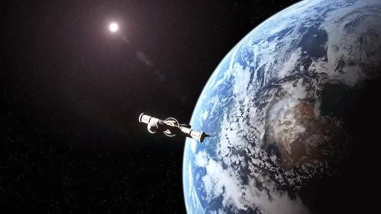 Spaceship Leaving Earth: Stock Motion Graphics