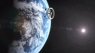 Space Station Orbiting Earth: Motion Graphics
