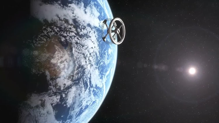 Space Station Orbiting Earth: Stock Motion Graphics