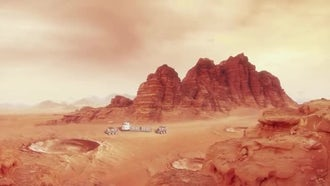 Mars Landscape With Habitat and Rovers: Motion Graphics