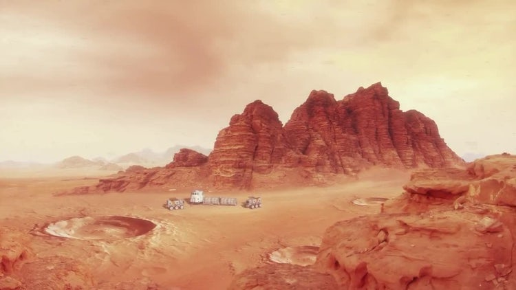 Mars Landscape With Habitat and Rovers: Stock Motion Graphics