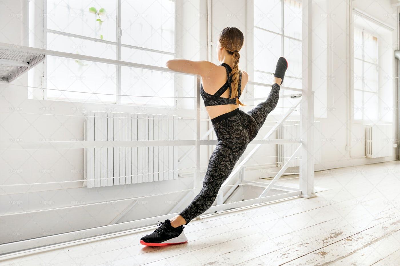 Frontal Split Yoga Pose: Stock Photos