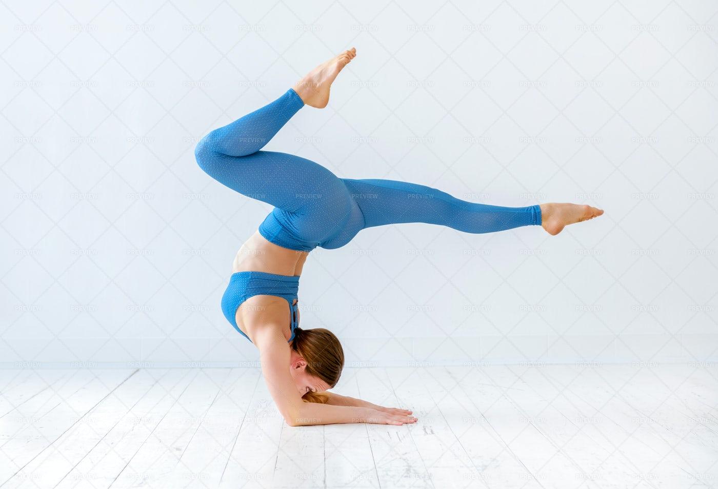 Elbow Stand Yoga Pose: Stock Photos
