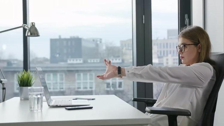 Businesswoman Using Laptop Indoors: Stock Video