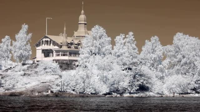 Infrared Finland: Cafeteria On Island: Stock Video