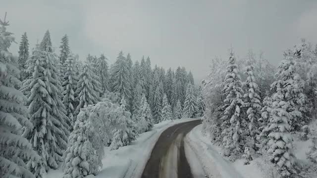 Mountain Road In Winter: Stock Video