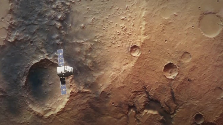 Planet Mars From Orbit With Spaceship: Motion Graphics