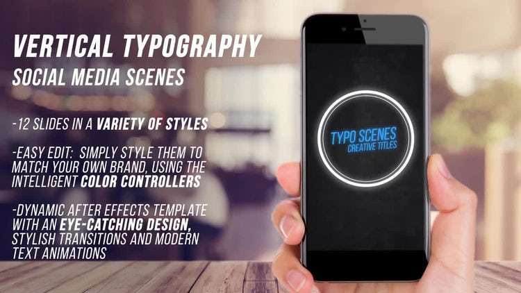 Vertical Typography Scenes: After Effects Templates
