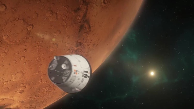 Lander Approaching Mars: Stock Motion Graphics