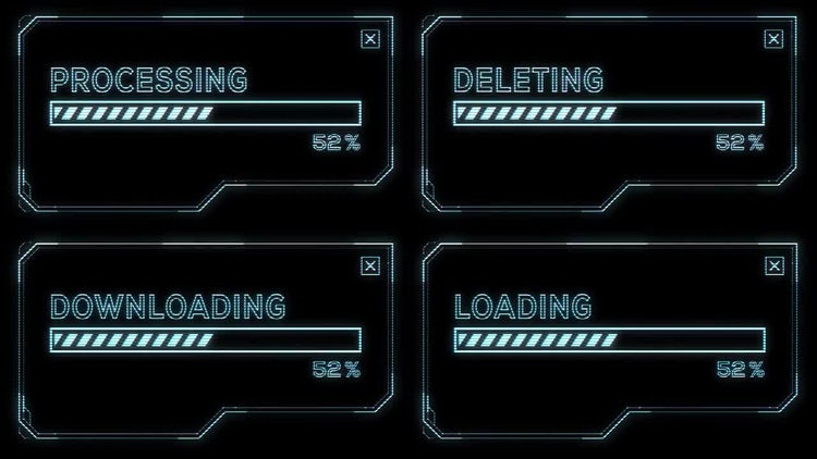 Futuristic HUD Progress Bars: Stock Motion Graphics