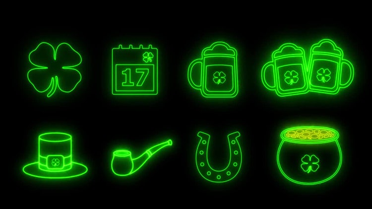 8 Saint Patrick's Day Icons: Motion Graphics