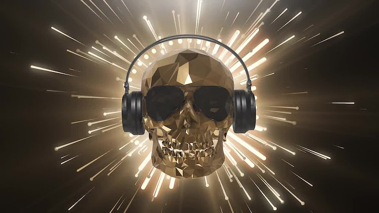 Golden Low Poly Skull: Motion Graphics
