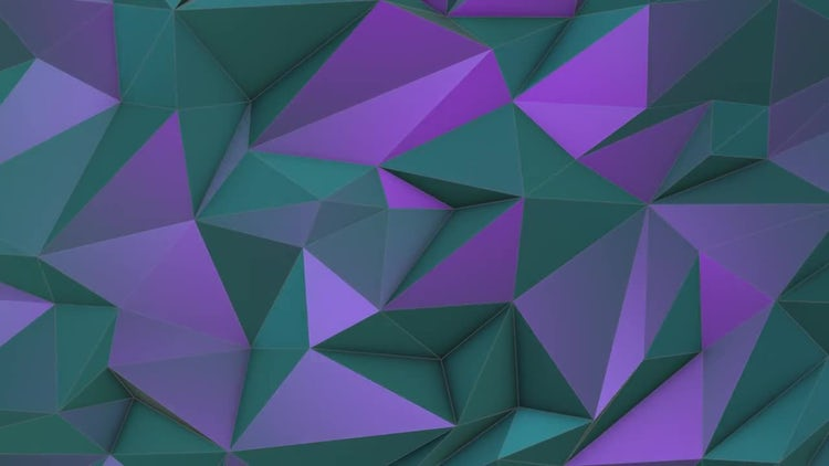 Turquoise-violet Low Poly Background: Motion Graphics