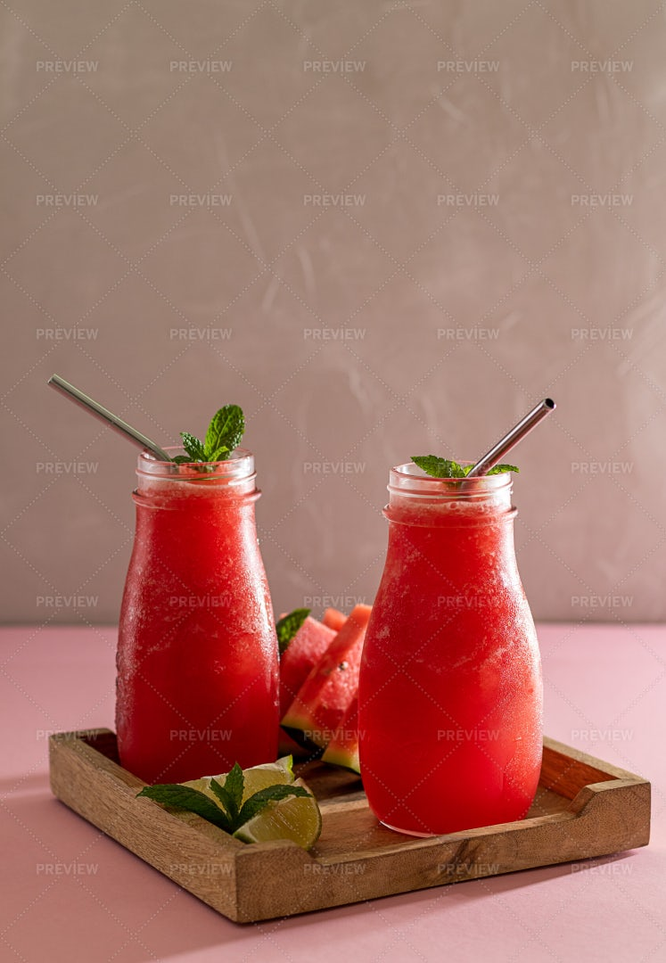 Watermelon Smoothies In Glasses: Stock Photos