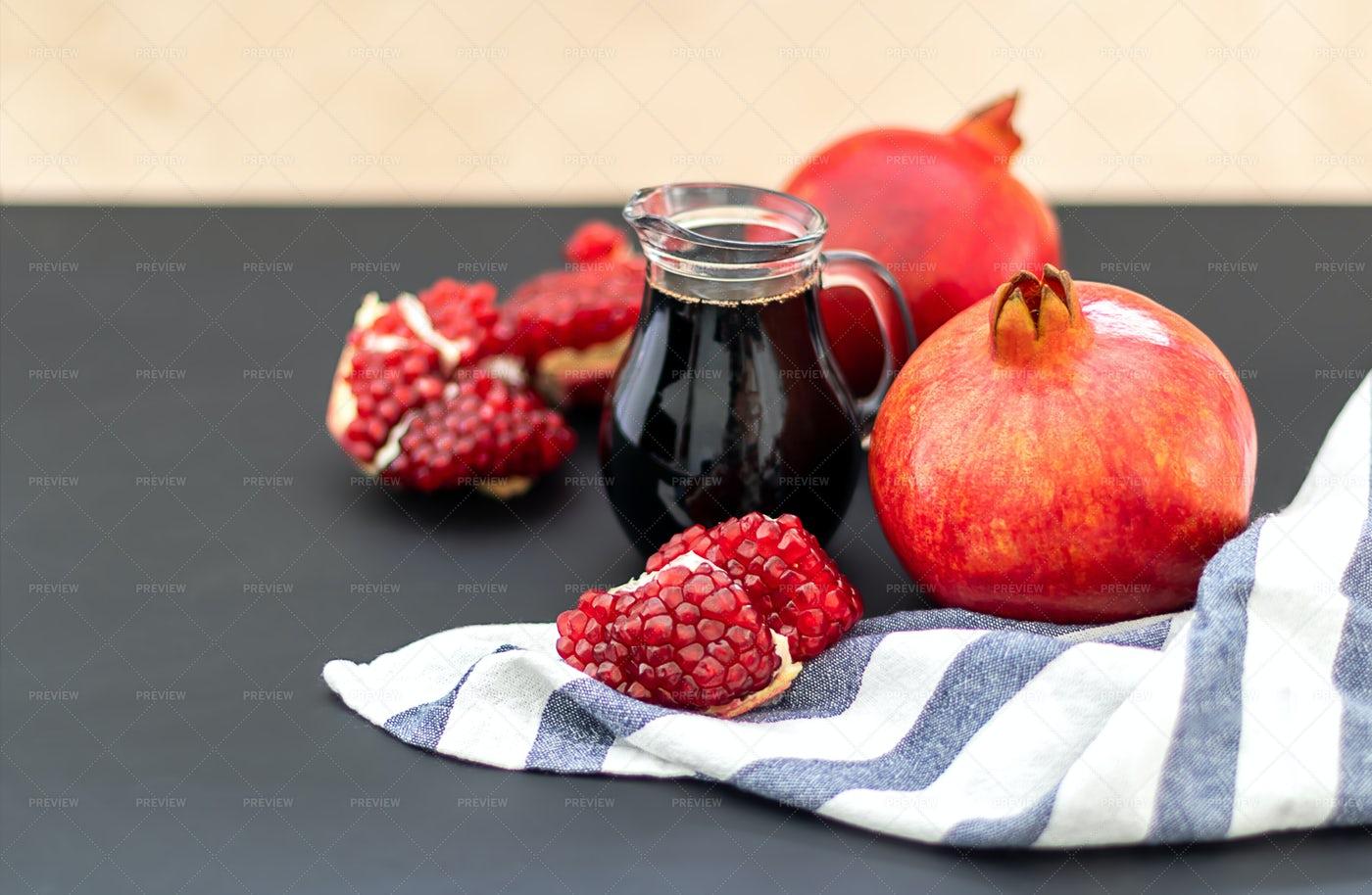 Pomegranate And Juice: Stock Photos