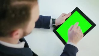 Man Using Green Screen Tablet: Stock Video