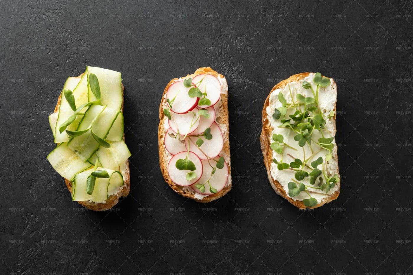 Different Vegan Sandwiches: Stock Photos