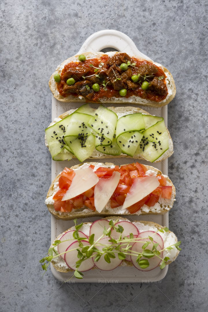 Toasts With Vegetables: Stock Photos