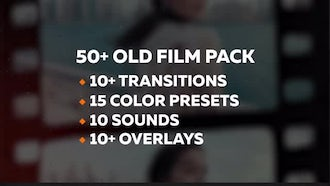 50+ Old Film Pack: Transitions, Color Presets: Premiere Pro Templates