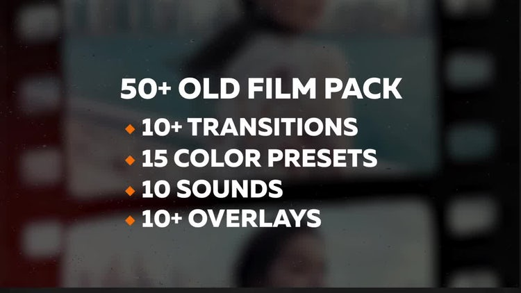 50+ Old Film Pack: Transitions, Color Presets: Premiere Pro Presets